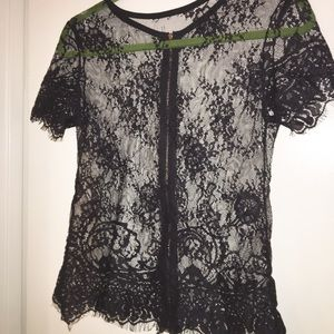 New Black short sleeve lace top size medium